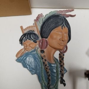 Vintage Wall Art - Vintage Cast Iron Indian woman with child wall Pla